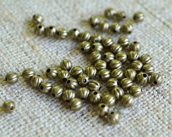 100pcs Metal Bead 3mm Antiqued Gold Plated Brass Corrugated Round