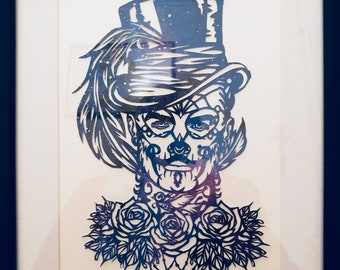 Handcut Papercut Jack Day of the Dead