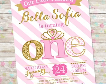 Princess Birthday Invitation, 1st Birthday Party Invite, Pink and Gold Glitter, ONE Little Princess, Printable Invite, Princess Party, DIY