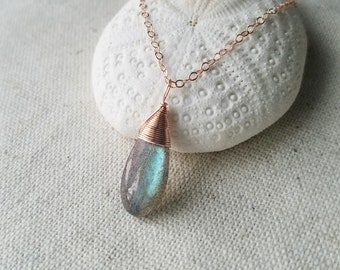 14k rose gold filled blue green flash Labradorite pendant necklace
