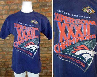 Vintage Denver Broncos T-Shirt 1998 Super Bowl XXXII Shirt Large Vintage Broncos Football Tee 90s Broncos Graphic All Over Print Broncos Fan