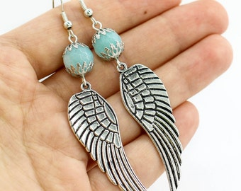 Wing earrings Long earrings Dangle earring Statement earring Blue earring Boho jewelry Mother day gift for sister birthday gift for her wife