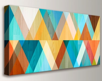 """Mid Century Modern Retro Canvas Print Mid Century Wall Art Large Wall Art Geometric Art in Teal Coral and Yellow """"Juxtaposed"""""""
