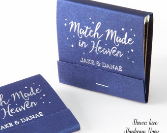 MATCH MADE in HEAVEN w/ Polka Dots Matchbooks - Wedding Favor, Wedding Matches, Personalized Matches, Custom Matchbook, Bridal Shower Favors