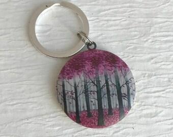 Pink Forest Locket Keychain, trees key chain, floral locket, teacher gift, nature jewelry, tree keychain, tree locket