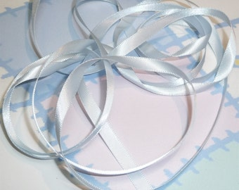 BLUE VAPOR DouBLe FaCeD SaTiN RiBBoN, Polyester 1/4 inch wide, 5 Yards