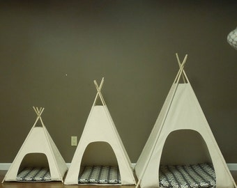 "Large Dog Teepee Pet Tent -36"" base  Natural Canvas PICK YOUR PILLOW - Ready to  Make or Custom Order it - Tenthouse Suites by Vintage Kandy"