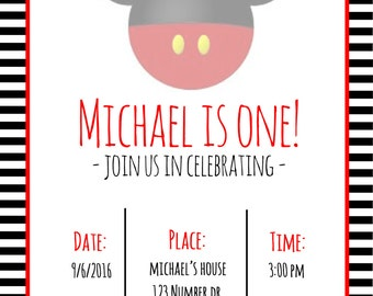 Mickey Mouse Birthday Invitation, Mickey Mouse Invitation, Birthday Invitation, Custom Birthday Invitation, Downloadable Invite, Digital