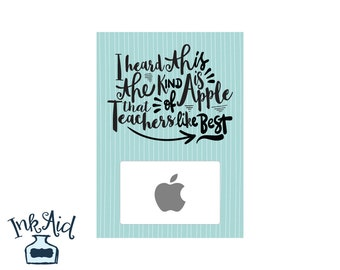 Printable MALE Teacher Gift 5x7  • Add Your Own Apple iTunes Gift Card • PDF and JPG Formats Aqua Blue Turquoise Word Art Subway Style
