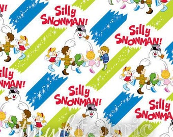 Woven Fabric - Christmas Warner Brothers Silly Snowman Diagonal Stripe White - Fat Quarter Yard +