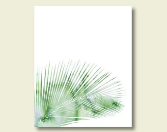 watercolor palm leaf printable mint green wall art decor digital print instant download tropical beach house minimalist living room art jpg