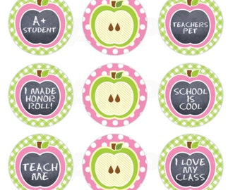 INSTANT DOWNLOAD - Apple a Day Back 2 School Bottle Cap Images - 4x6 Digital Sheet - 1 Inch Circles for Bottlecaps, Hair Bow Centers, & More