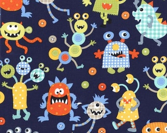 Monster Mash Navy by Michael Miller - Monsters Aliens Blue - Quilting Cotton Fabric - choose your cut