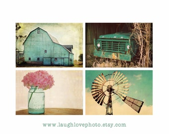 Aqua Country Farmhouse Prints, Barn Windmill Hydrangea Truck Series, Teal Turquoise Rustic Fixer Upper Style Photos, Home Decor Wall Art