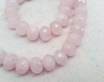 Natural Rose Quartz Faceted Semi-Rondelle Beads