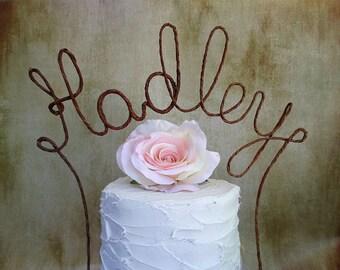 LAST NAME Wedding Cake Topper Banner - Personalized Name Rustic Wedding Cake Topper, Custom Shabby Chic Monogram Wedding Cake Decoration