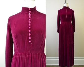 1970s Victoria Royal Burgundy Velvet Maxi Dress