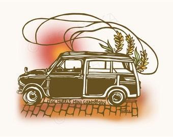 1966 Festgelegt Morris Mini Countryman, Vintage Car Series, Abzüge von Kiri-e (Hand-Schnitt Papierkunst), 6 Grußkarten