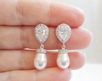FREE US Ship Swarovski Pearl Teardrop And Cubic Zirconia Bridal Earrings Teardrop CZ And Pearl Bridal Earrings Teardrop Bridal Earrings