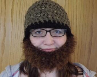 Crocheted Bearded hat.