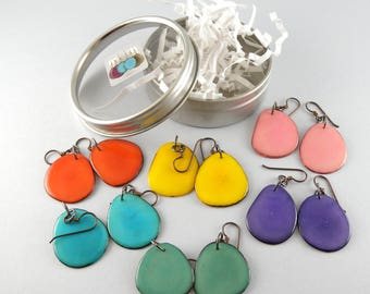 Spring Fashion Colors 6 Pair Compact Travel Pack Tagua Nut Eco Friendly Earrings with Free USA Shipping #taguanut #ecofriendlyjewelry