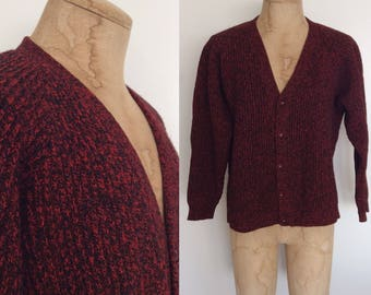 1960's Norwegian Wool Red & Black Knit Mens Cardigan Sweater Size Large by Maeberry Vintage