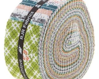 "RJR Fabrics - One Room Schoolhouse Pixie Strips/Jelly Roll by Brenda Ratliff - 40, 2.5"" x 42"" Precut Fabric Strips"