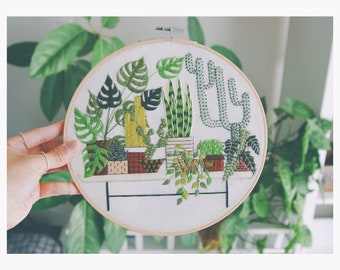 Embroidery Hoop Art Green Plants Embroidery