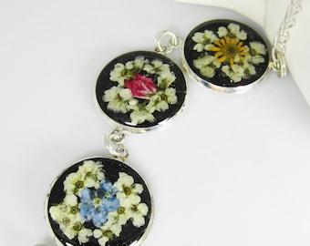 Pressed Flower Bracelet,  Adjustable,  Real Flowers, Silver Plated Brass,  Resin (1963)
