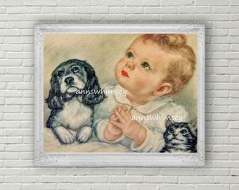 "Nursery Art, Baby's Room Art, Baby, Dog, and Kitten Bedtime Prayers Art Print ""Good Night God""  #739  FREE SHIPPING"