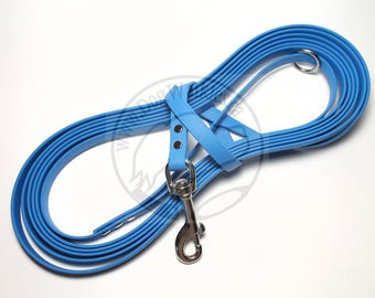 "Caribbean Blue - Waterproof Long Line - 1/2"" (12mm)wide Genuine Biothane - Tacking Leash - Recall Leash - Choice of hardware and length"
