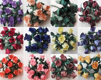 2 DOLLAR SALE Mulberry paper flowers/roses/buds for cardmaking/craft  12 colour options