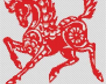 Horse Cross Stitch Chart, Year of the Horse Cross Stitch Pattern PDF, Asian Cross Stitch, Chinese Zodiac Cross Stitch