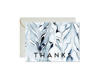 THANKS Indigo Marble Notecards + Envelopes Pack | Boxed Set (8) | Abstract | Modern