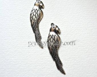 Metal large Tibetan silver Parrot charm