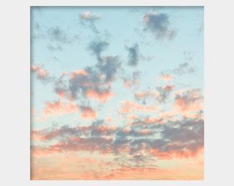 Pastel Clouds Photo, Nursery Wall Art, Pastel Sky Photo, Cotton Candy Clouds, Baby Blue Sky Art, Pink Sky Photo, Peaceful Photo, Dreamy Sky