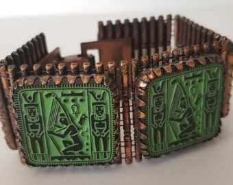 Vintage Egyptian Revival Panel Bracelet, Green Enamel Copper Bracelet, Egyptian Revival 5 Panel Bracelet
