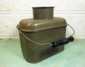 Antique Metal Lunch Bucket, Miner's Dinner Pail, Metal Lunch Pail with Compartments and Cup
