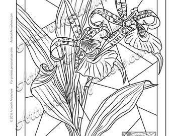 Wild Orchids on Stain Glass ~ Adult coloring page printable download digital stamp ~hand drawn flowers~ Orchids on Glass by Artwork Anywhere