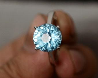 Blue Topaz Ring Sterling Silver Gemstone Ring November Birthstone Ring Solitaire Ring