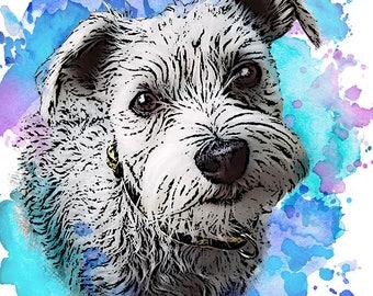 Custom Pet Portrait DIGITAL Download Pet Portrait to print - Watercolor Splash Background. Dog or Cat Fun Custom Portrait.
