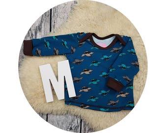 Mitwachsen shirt, shirt, sweater, baby shirt, American neckline, long sleeve shirt, Longsleeve, gift, baby, owl, owl, owl, owl, petrol