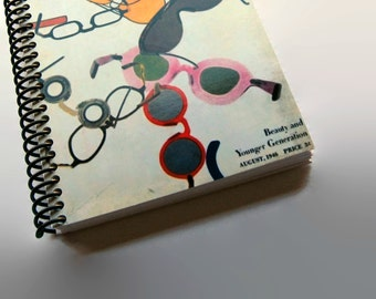 Fashion Sunglasses Writing Journal, Diary, Pocket, Spiral Bound, Blank Sketchbook, A6 Spiral Notebook, 4x6 Inches, Back to School, Travel
