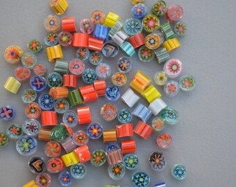 Millefiori Glass Slices, COE 96,  Individual pieces, for fusing, lampwork, glass blowing and more