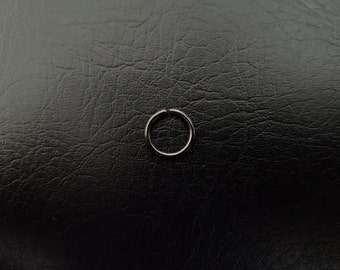 """20g 18g 16g 5/16"""" (8mm) Black Seamless or Hinged Seamless Septum Daith Helix Nipple Cartilage Ring Hoop Lip ring Nose Ring 316lvm Steel"""