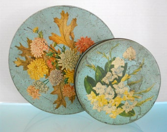 1940's Cottage Chic / Set of 2 Tins