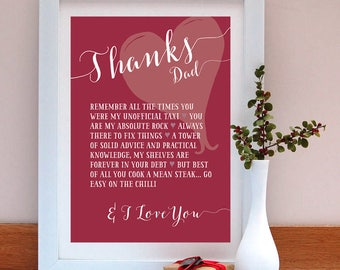 Thanks dad personalised print-Gift for Dad-Father's Day Gift for Dad-Father's Day Gift-Personalised Gift-Personalized Gift-Father's Day