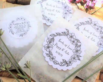 Wedding Favours Wildflower Seed Personalised Glassine Bags Set of 10 Wedding Favors