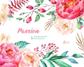 Passion 6 Watercolor Bouquets, hand painted clipart, peonies, floral wedding invite, pink, greeting card, diy clip art, flowers, hawthorn
