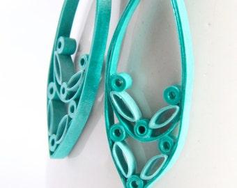 Aqua Marquis Drop Earrings Paper Quilled Hypoallergenic Niobium Eco Friendly Artisan Jewelry hypoallergenic